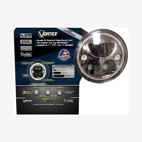 "Vision X Chrome Vortex 7"" Round LED Headlight POS Display"