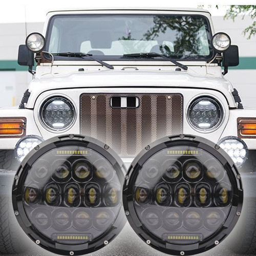 1996 - 2006 Jeep Wrangler TJ LED Headlight Kit - Oracle 75w Black Projector Style