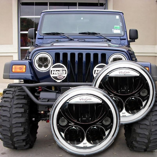 1996 - 2006 Jeep Wrangler TJ LED Headlight Kit - BLACK-CHROME Vision X Vortex