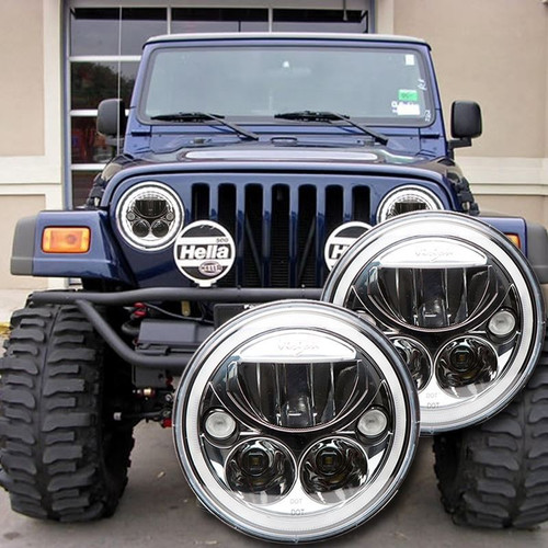1996 - 2006 Jeep Wrangler TJ LED Headlight Kit - CHROME Vision X Vortex