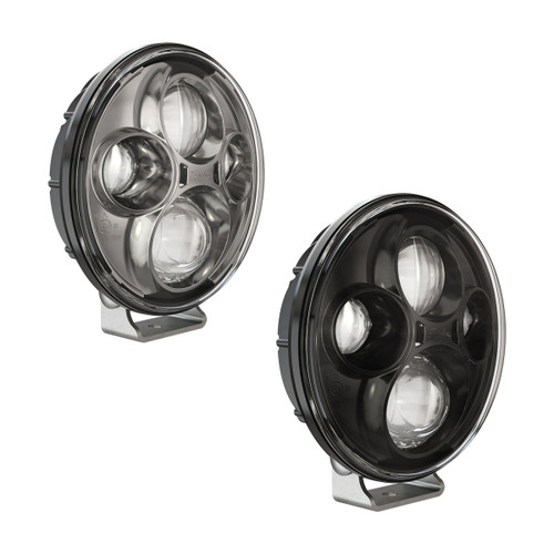 "JW Speaker Model TS4000 12/24V 7"" Round Chrome High Beam Pedestal Mount Auxiliary 2-Light Kit"