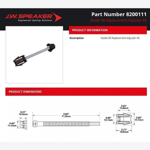 JW Speaker Model 90 - Replacement Adjuster Kit Model 90, 91 or 92 LED Headlight