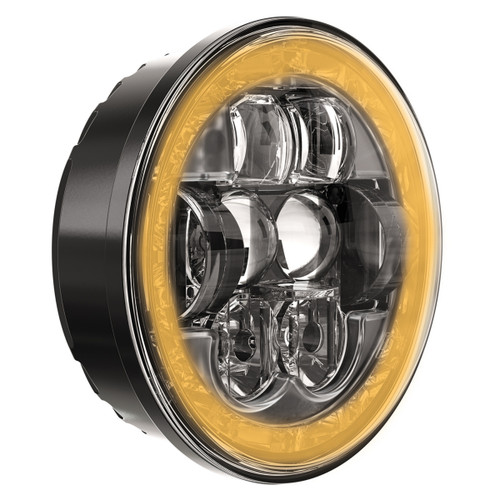 "JW Speaker Model 8631 Evolution with White DRL and Amber Turn Signal RHT DOT 5.75"" Round Headlight"