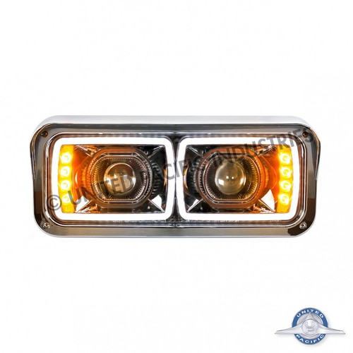 United Pacific Peterbilt LED Blackout Projection Headlight With LED Turn Signal Passenger Side
