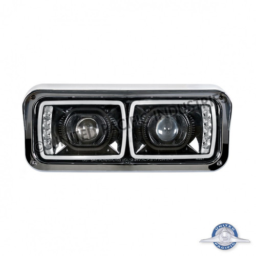 united pacific peterbilt led (blackout) projection headlight with led turn  signal - driver side