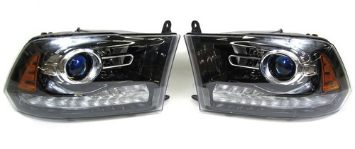 2013-2015 Dodge Ram 1500 OEM Driver & Passenger BLACK Projector Headlights