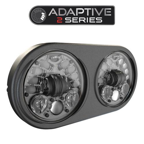 JW Speaker 8692 LED High & Low Beam Adaptive 2 Headlight Black w Black Inner Bezel - Pre-assembled 2 Light Kit