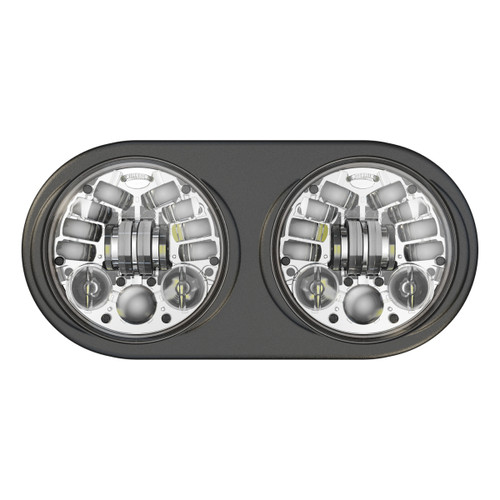 JW Speaker 8692 LED High & Low Beam Adaptive 2 Headlight Chrome w Black Inner Bezel - Pre-assembled 2 Light Kit