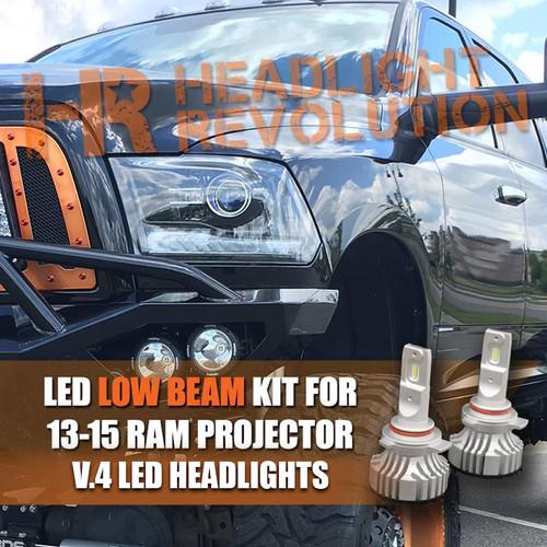 13-15 Ram Projector Single Beam LED 9012 Low Beam Bulbs Upgrade, V.4