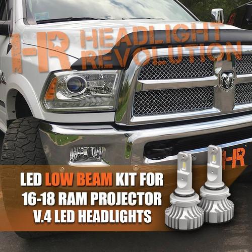 16-18 Ram Projector Single Beam LED 9005 Low Beam Bulbs Upgrade, Supernova V.4
