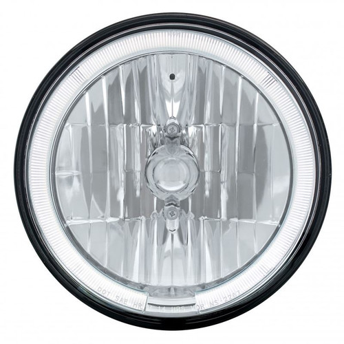 "United Pacific 31285 7"" Round Crystal Reflector Headlight with White LED Halo"