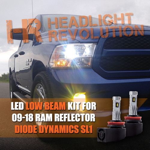 2009 - 2018 Ram LED Headlight Bulb Upgrade, Single Beam Reflector H11 LOW BEAM - Diode Dynamics SL1