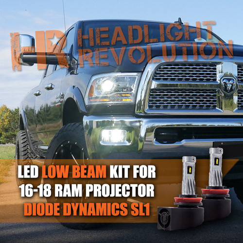 2016 - 2018 Ram Projector Single Beam LED 9005 Low Beam Bulbs Upgrade - Diode Dynamics SL1