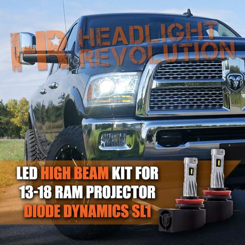 2013 - 2018 Ram LED Headlight Bulb Upgrade, Single Beam Projector 9005 HIGH BEAM - Diode Dynamics SL1