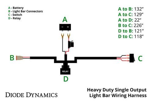Heavy Duty Single Output Light Bar Wiring Harness on