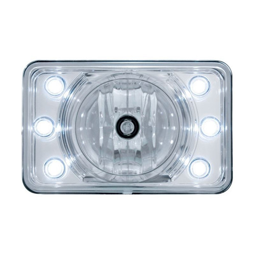 "United Pacific 31376 4x6"" Halogen High Beam Reflector Headlight with Accent Lights"