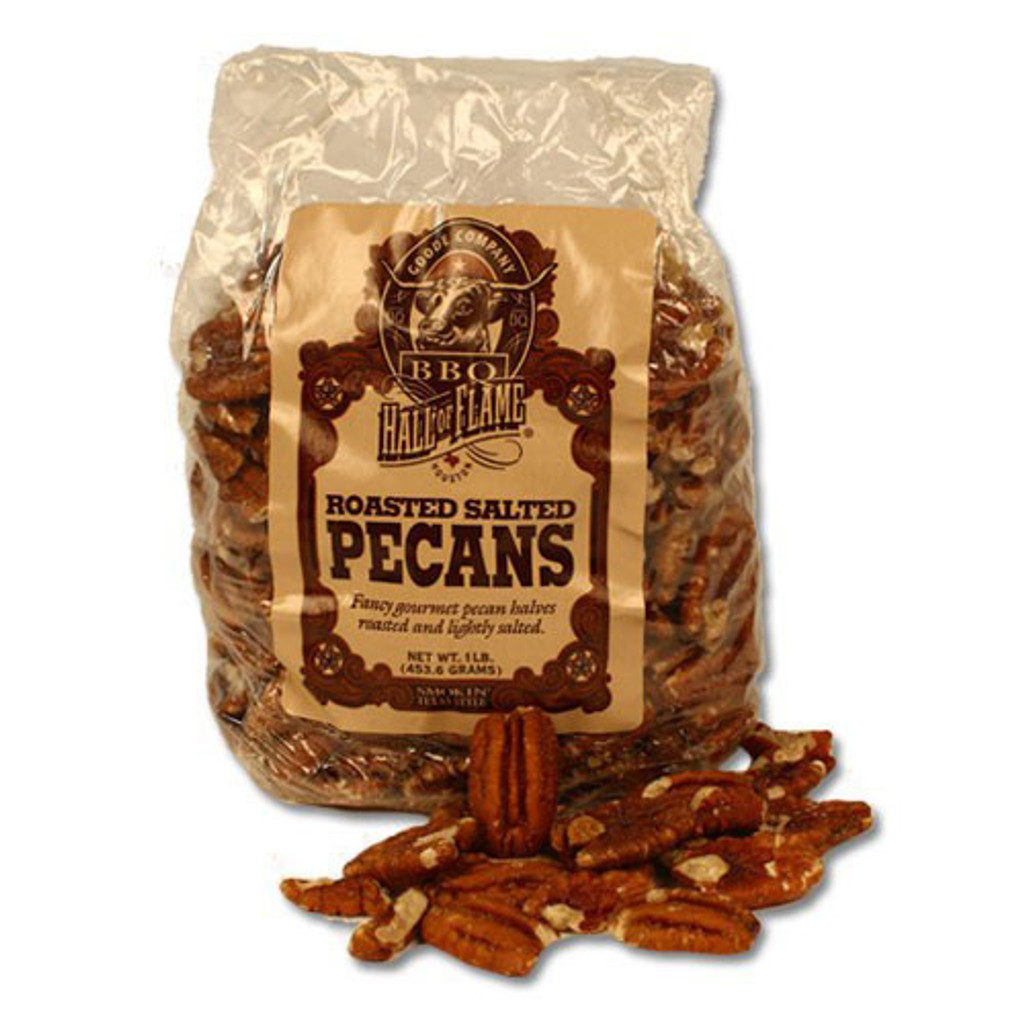 A 4-ounce bag of Goode Co's Roasted Salted Pecans.