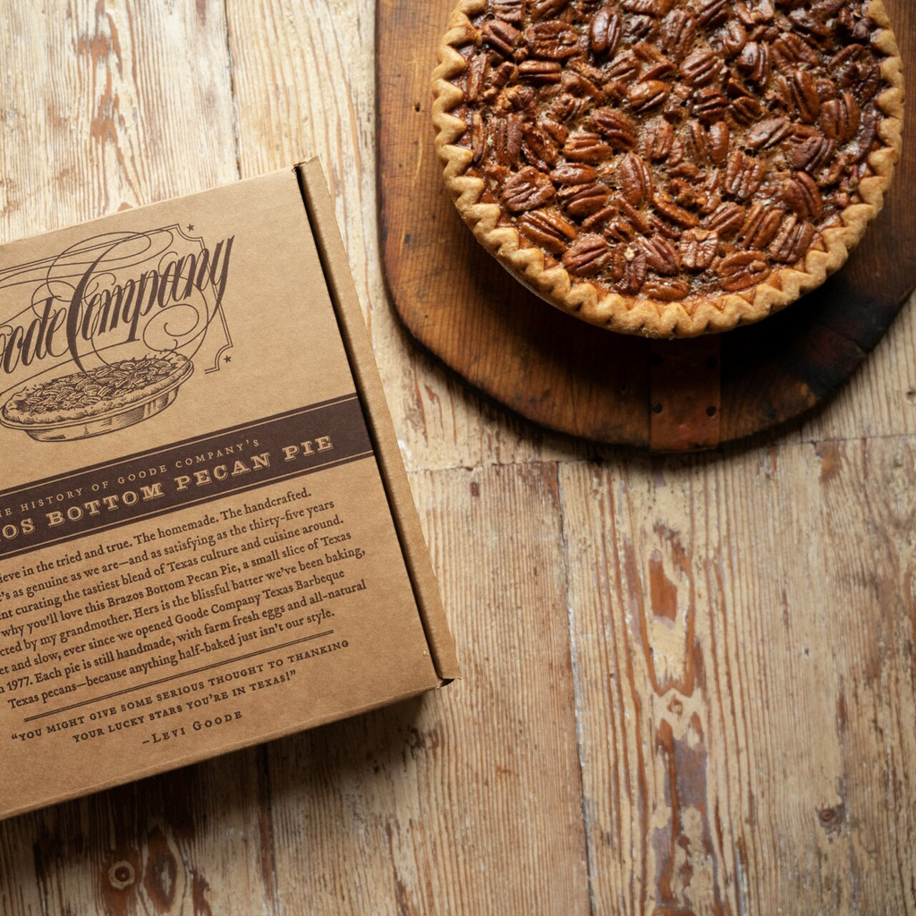 Brazos Bottom Pecan Pie now available to ship in a cardboard box.