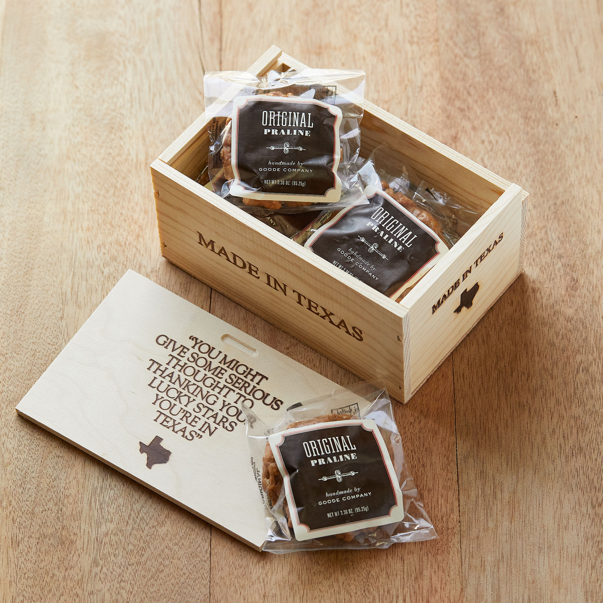 6 individually wrapped Original Pecan Praline Delight, packaged in a pine gift box.