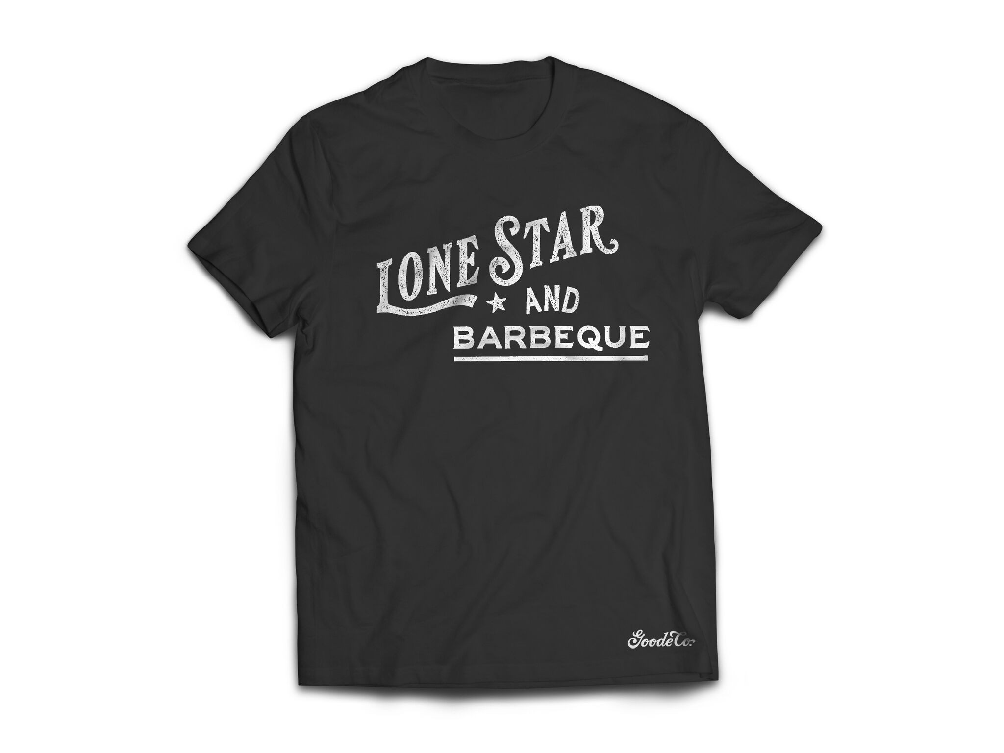 "Product photo for Goode Co's ""Lone Star & BBQ"" t-shirt."