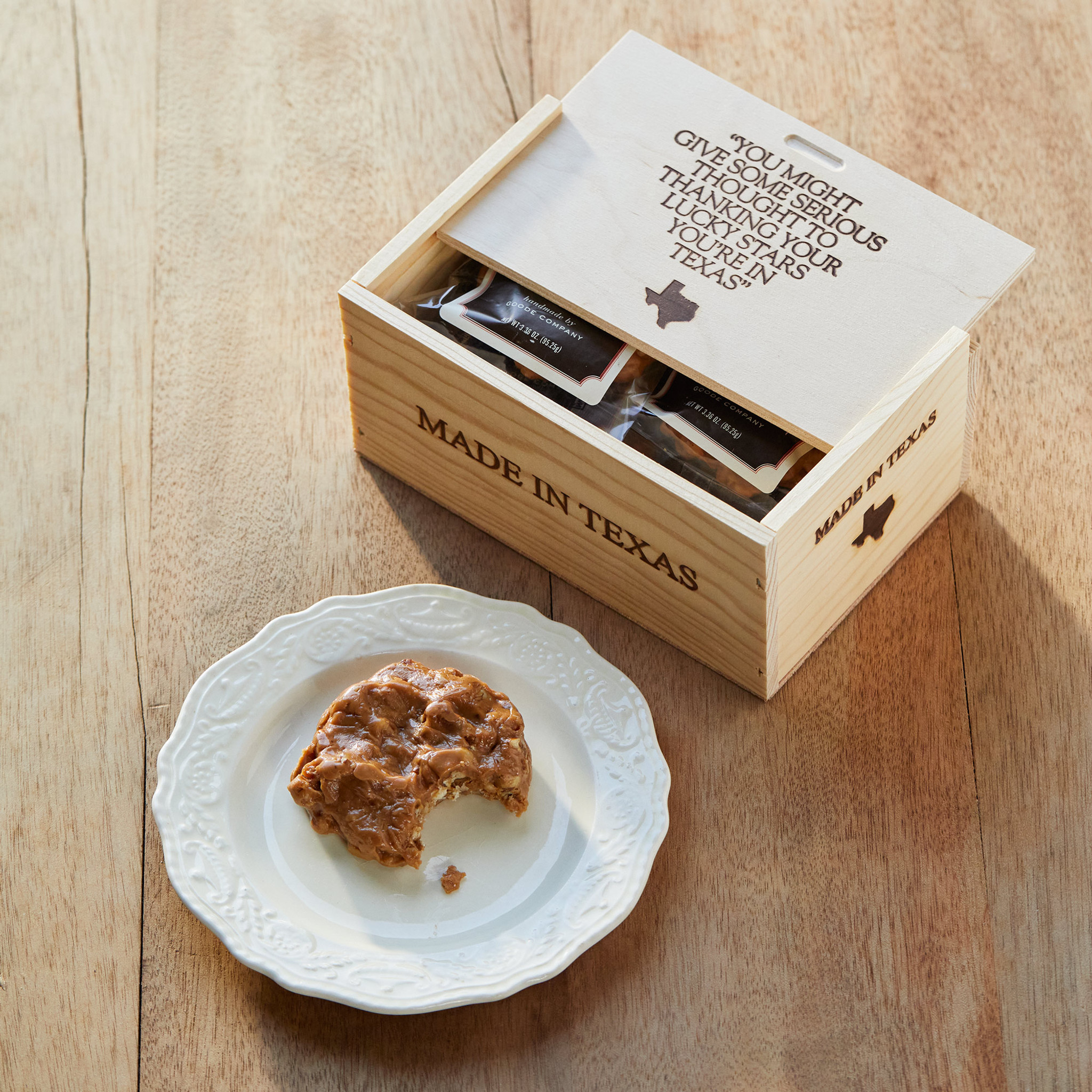 6 Assorted Praline Delights, individually wrapped in a wooden gift box.