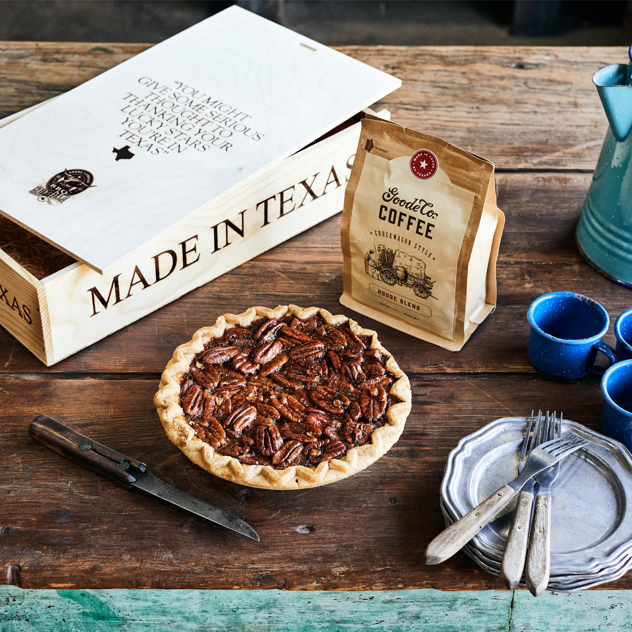 Texas Style Coffee Break Gift Box, with one 12-ounce bag of Chuckwagon or Texas Pecan coffee and one 8-inch Pecan Pie, packaged in a branded pine gift box.