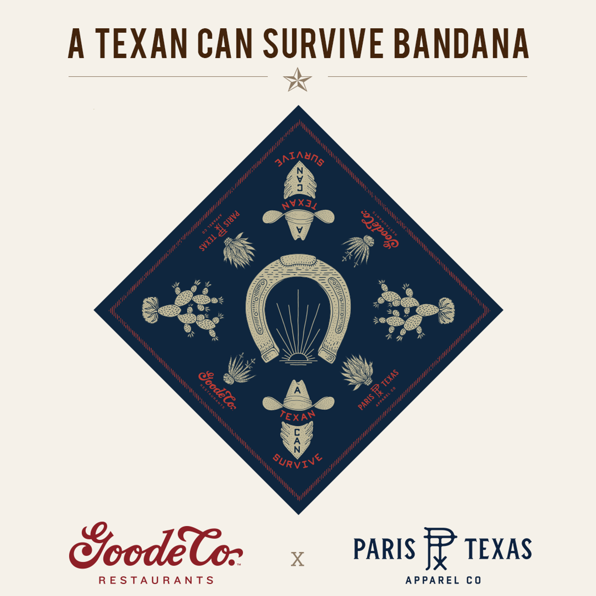"""Stylish Bandana from Goode Co x Paris TX Apparel Co collaboration with """"A Texan Can Survive Bandana"""" in dark font and illustrations of a horseshoe, cacti plants, cowboy hates, and agave plants."""