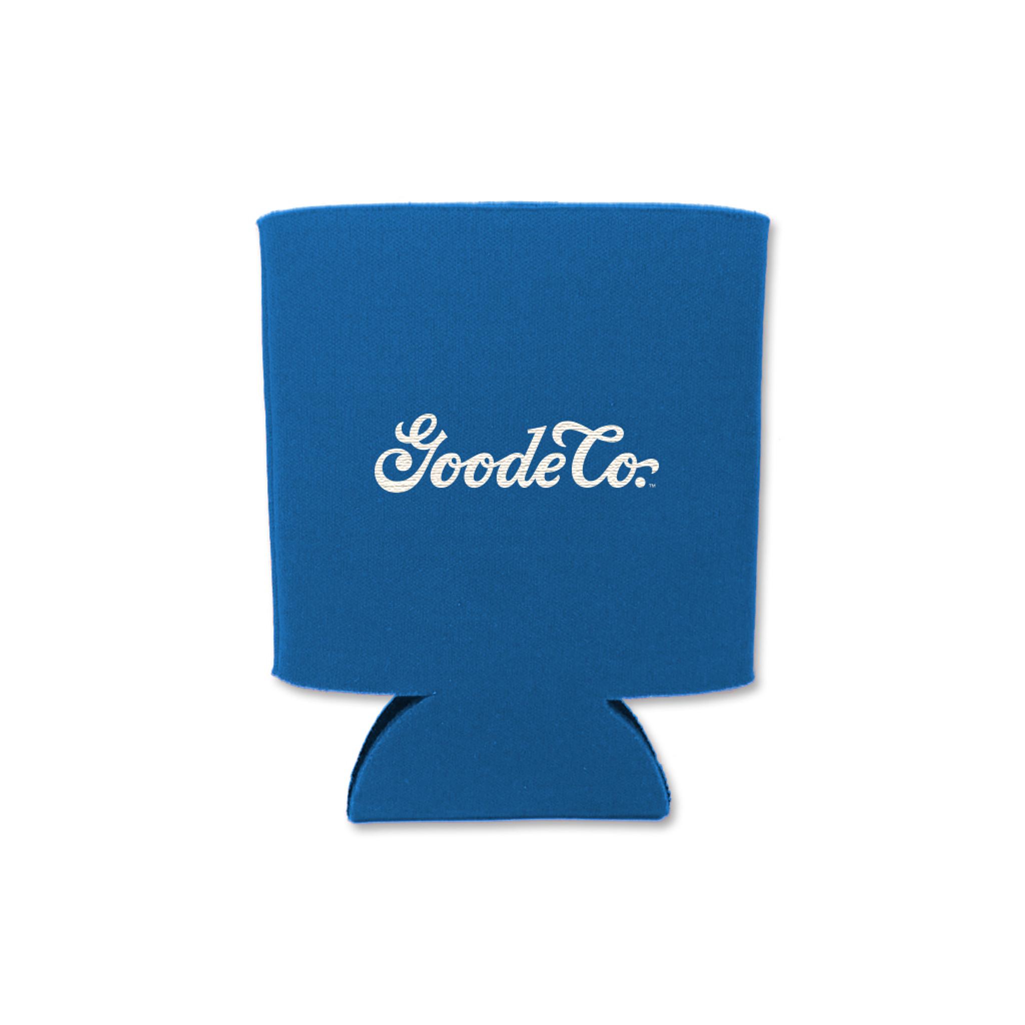 Back of Goode Co's blue El Guapo koozie.