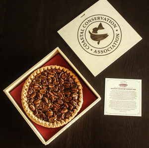 Limited Edition Coastal Conservation Association (CCA) Texas Pecan Pie, shipped in a wooden gift box.