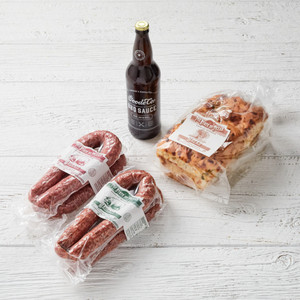 Goode's Sausage Sampler, shipped in vacuum-sealed packaging.