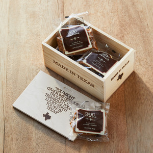 6 individually wrapped Chewy Praline Delight, packaged in a pine gift box.