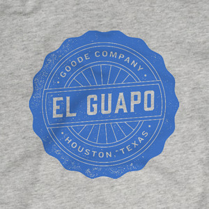 """Detailed product photo of Goode Co's """"El Guapo"""" t-shirt."""