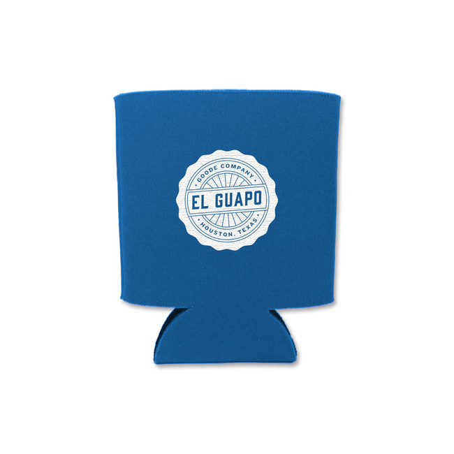 Front of Goode Co's blue El Guapo koozie.