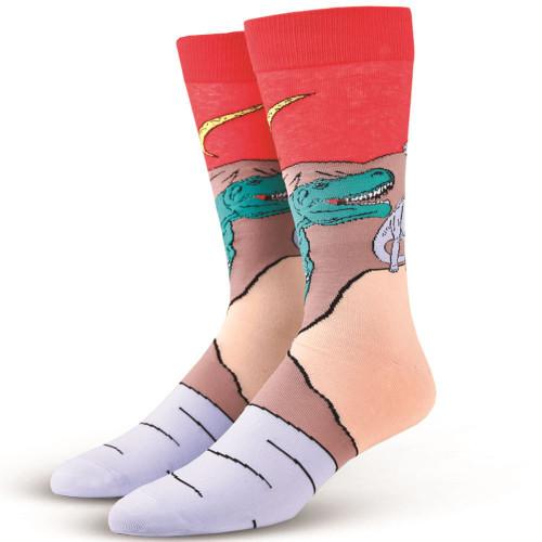 OddSox Mens Crew Knit Socks ~  Jurassic