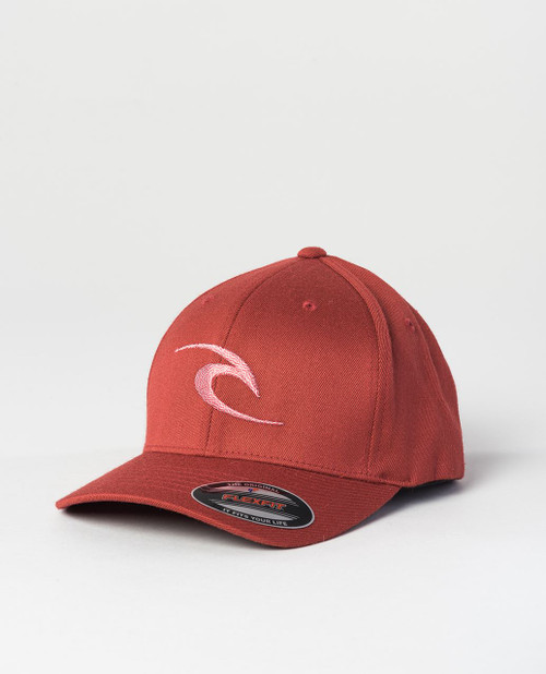 Rip Curl Men's Flexfit Cap ~ Fleck Curve Peak red