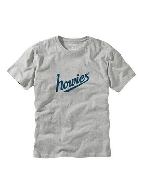 howies Men's Organic Cotton Heather T-Shirt ~ Script Logo grey