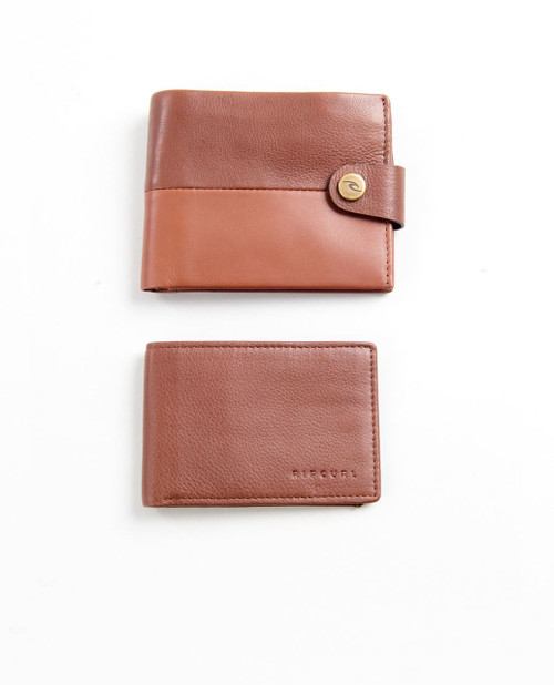 2 Rip Curl Leather Men's Wallets With RFID ~ Snap Clip brown