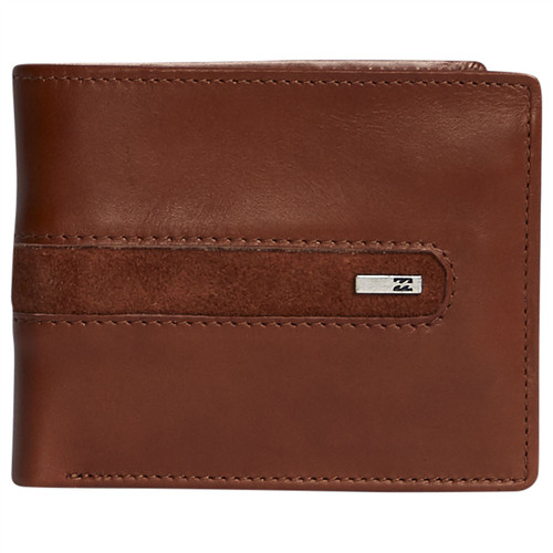 Billabong Men's Leather Trifold RFID Wallet ~ Dbah tan