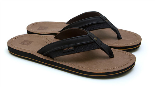 Rip Curl Men's Synthetic Leather Sandals ~ Ox black/sand