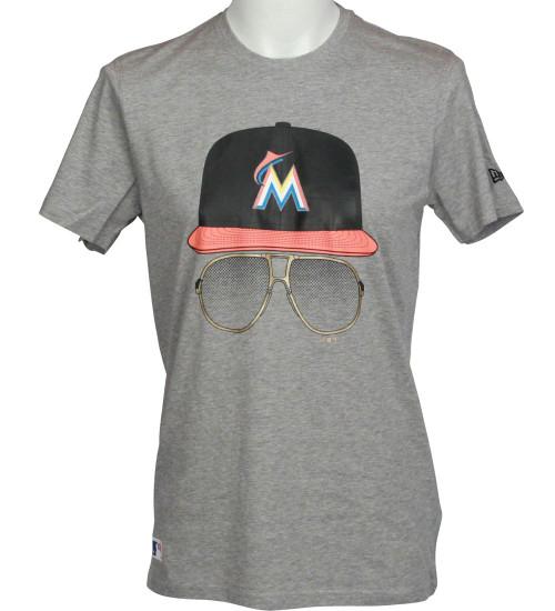 New Era MLB Cap and Glasses T-Shirt ~ Miami Marlins