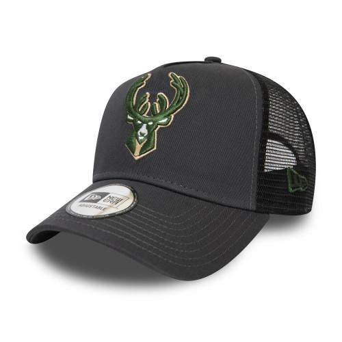 New Era Dark Base Team AF Trucker ~ Milwaukee Bucks