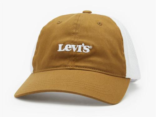 Levi's Mens Snapback Flexfit Trucker Cap ~ Vintage Logo khaki