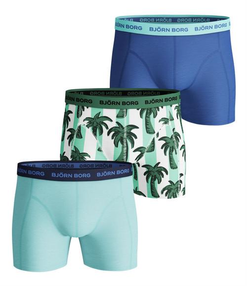 Bjorn Borg Men's Boxer Shorts 3 Pack ~ Palmstripe Blue tint
