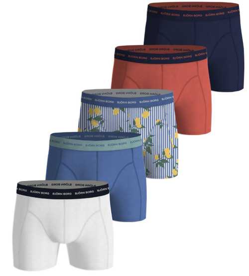Bjorn Borg Men's Boxer Shorts 5 Pack ~ Lemonstripe ultramarine