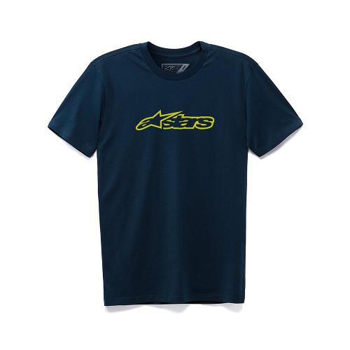 Alpinestars Men's T-Shirt ~ Blaze Classic navy yellow