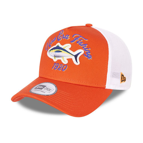 New Era Adjustable Snapback Trucker Cap ~ New Era Fishing  orange