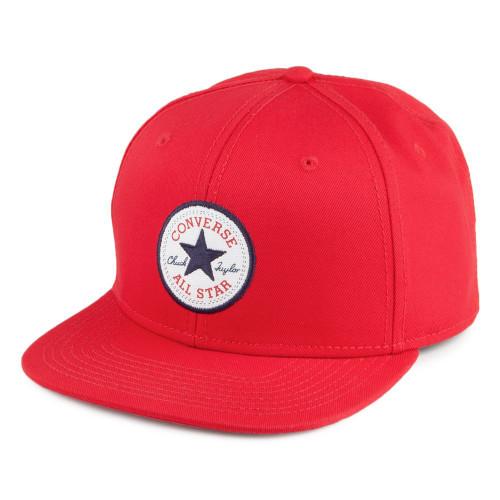 Converse Men's Flat Peak Snapback Cap ~ Core red