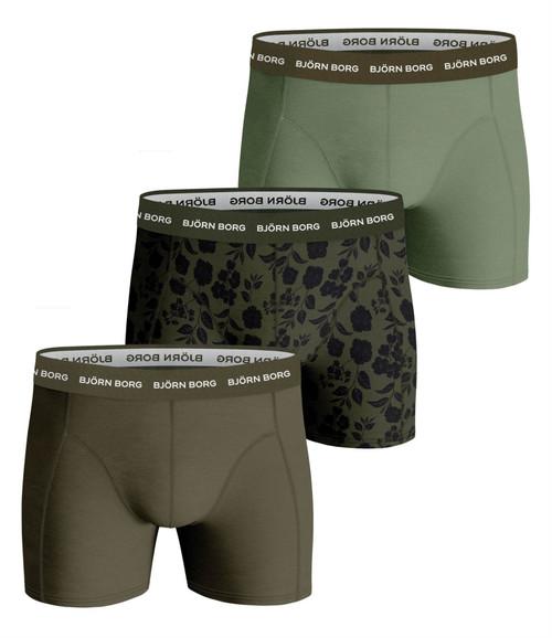 Bjorn Borg Men's Boxer Shorts 3 Pack ~ Essential green