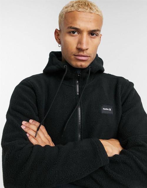 Hurley Men's Zip Sherpa Fleece ~ Anorak black