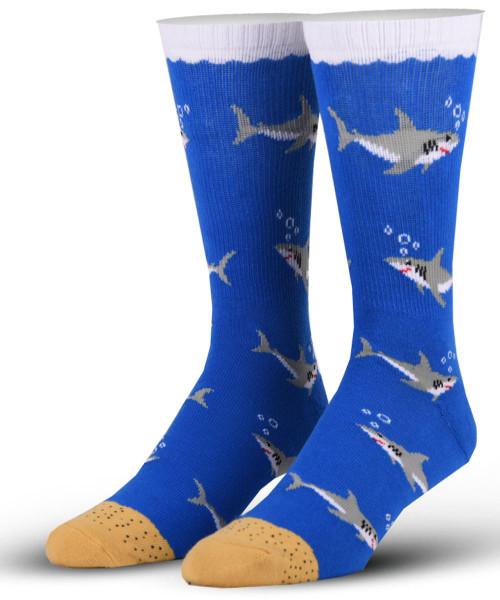 OddSox Mens Crew Knit Socks ~  Sharks